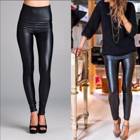 f3e6d60ea1809 Pants | High Waist Faux Leather Tummy Control Leggings | Poshmark